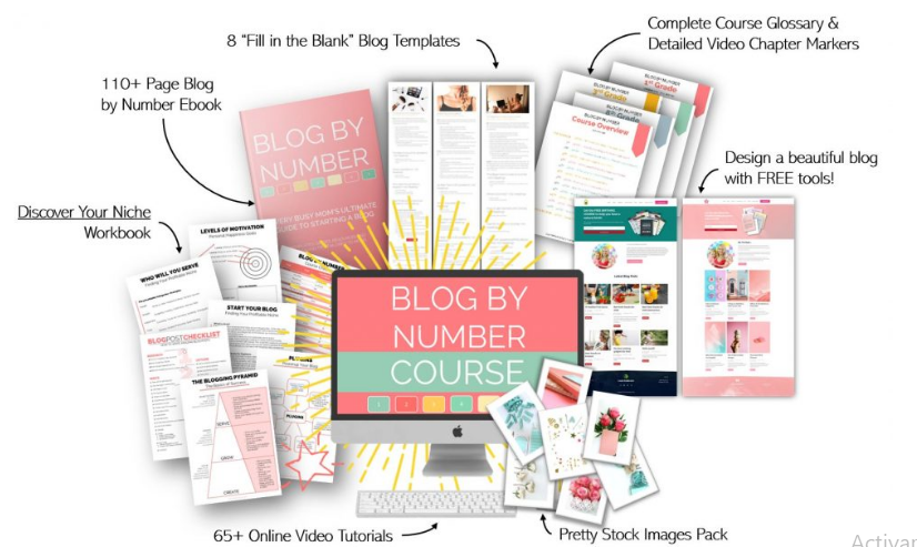 image of everything included with Blog by Number to start a profitable blog