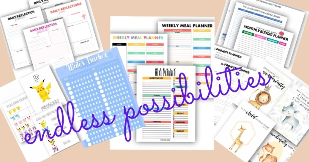 images of a variety of printables to show the possibilies
